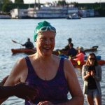 Marilyn Braun, finishing her fourth Ohio River swim