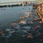 Swimmers in the men's division take to the water.