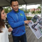 Local resident Sammi Zola and James Sun of the Beneful team