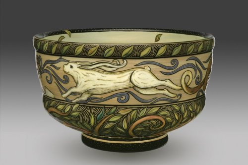 """Year of the Rabbit,"" bowl by Terri Kern. Hand-carved and painted ceramic bowl."