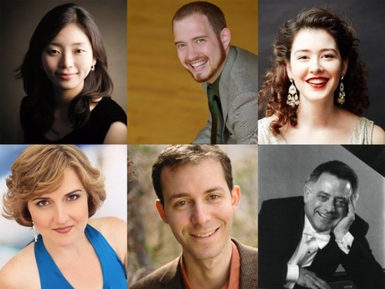 """The artist roster for """"Survey of Les Six: The New Aesthetic"""" (L-R starting from the top): Ahyoung Jung (piano), Samuel Martin (piano), Marie Marquis (soprano), Ivy Walz (mezzo-soprano), Alexander Hurd (baritone), Kenneth Griffiths (narrator)"""