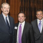 Former Mexican President Vicente Fox with Cincinnati Mayor John Cranley and Ruben Contreras of the Hispanic Chamber Cincinnati