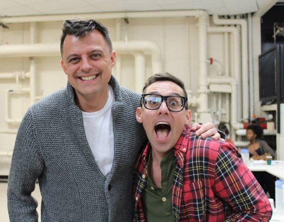 """Director Bill Fennelly and actor Nick Cearley (Seymour) in """"Little Shop of Horrors"""" at The Playhouse."""