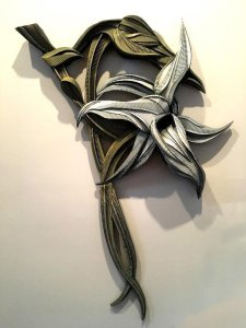 """""""Darwin Orchid,"""" Mixed Media 36"""" x 60"""" x 9"""" by Mark Wiesner, at Studio San Giuseppe."""