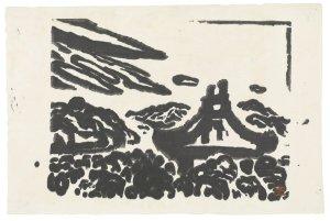 "Kōsaka Gajin, ""Nara, Todai-ji,"" 1952, woodcut"