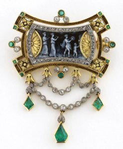 Husson, Brooch, about 1880. Gold, diamonds, emeralds,
