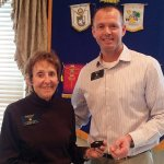 Sandy Shevers with Cincinnati Eastside Rotary President Eric Radtke