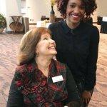 Social Venture Partner Sandra Hughes and Melanie Ervin, pitcher from Adopt a Class