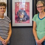 Sara and Michelle Vance Waddell, with the portrait of Steffi, the dog who inspired them to create Steffi's Pantry at Pets in Need.