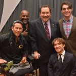 "(Front): Bryan Anderson, retired Army sergeant, Gary Sinise Foundation ambassador and Purple Heart recipient, with Nic Novicki; (back) Alphonzo ""Zo"" Wesson, festival honorary chair Todd Portune and keynote speaker RJ Mitte"