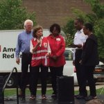 David Mann, Cincinnati vice mayor; Trish Smitson, Cincinnati Red Cross CEO; Delores Hargrove-Young, Red Cross board chair; Roy Winston, Cincinnati Fire Department interim chief; and Deborah Gentry Davis, Jack Casino vice president