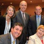 (Back) Amy Bixel, Kevin Ward and Andy Hagedorn; (front) John Simkonis and Donna Murphy, all of Huntington Bank