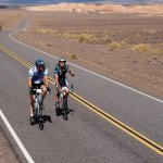 Russ Vester and daughter Hannah, who has raised close to $120,000 for JDRF Ride to Cure and is Type 1), riding in Death Valley.