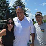 Event manager Kerin Caudill with host Dave Lapham and tournament director Ty Steele