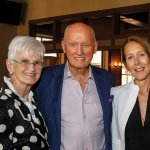 """Dr. John Tew and Susan Tew with Isabella Bywater, set and costume designer for """"La Bohème"""""""