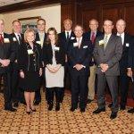 "(Back) Richard Bodner, Ohio National Financial Services; Art Roberts, ONFS; Chris Carlson, ONFS; Chris Calabro; Mike Prescott, president, Cincinnati Market, U.S. Bank; Hal Klink, ONFS; Howard Becker, ONFS; Paul Gerard, ONFS; Richard Davis, chair of U.S. Bancorp; (front) Kristal Hambrick, ONFS; Angie Meehan, ONFS; Gary T. ""Doc"" Huffman, ONFS chairman, president and CEO; and Tony Esposito, ONFS"