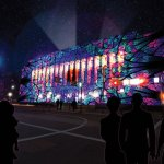 Artists imagining of projection mapping on the Court House (the actual art will be different).