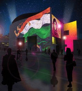 Artists imagining of projection mapping on the Freedom Center celebrating diversity and freedom, programmed by Brave Berlin (the actual art will be different).