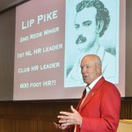 Greg Rhodes, Cincinnati Reds team historian with a slide of Lipman Pike, the Reds' first Jewish team member, who played for the Reds in 1877-1878.