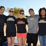 The Outdoor Adventure Club group: staffer Paige Young, board member Michelle Holmes, staffers Miriam Wise and Clint Victor, and board member Zuri Carter