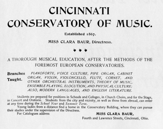 Ad for Cincinnati Conservatory of Music from the first Cincinnati Symphony Orchestra program