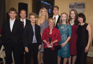 Family members with honoree Barbara Bushman: Cooper, Ross, Carson, Stacy, Lee, Amy, Emma and Alison Bushman