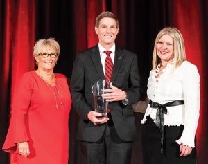 "The Honorable Beth Myers, honoree Russell C. ""Rusty"" Myers and Jennifer Heisey, executive director, UC Alumni Association and vice president for Alumni Relations, UC Foundation"