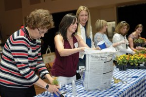 Louise Roselle, Sherri Friedman and Renee Levy prepare potted plants.
