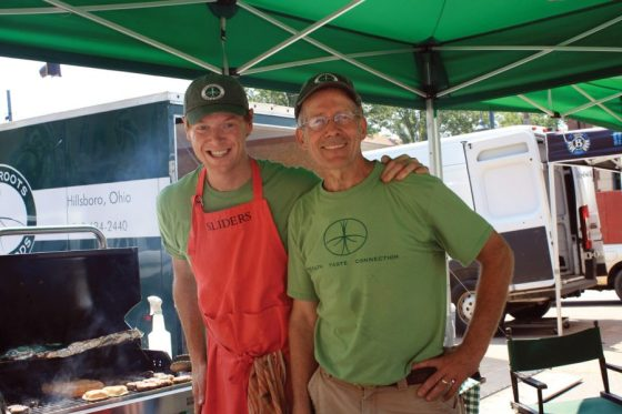 Hyde Park Farmers' Market - Grassroots Farm & Foods produces grass-fed beef, lamb, pork, chicken, eggs and prepared foods in Hillsboro, Ohio. Drausin and Susan Wulsin took on the operation of the family farm after successful professional careers. Try a delicious slider from the grill.