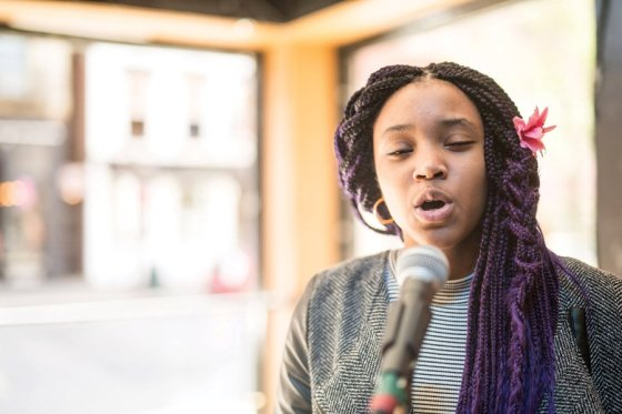 """Adanya Stephens, who is a student at SCPA, performing Spoken Word. Adanya is participating in the Elementz high school poetry competition, """"Louder Than A Bomb."""""""