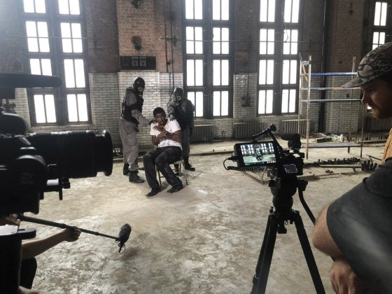 "Cincinnati Shakespeare Company actor Michael Morrow is filmed by Brave Berlin in the Gano Building. The sequences will be used in the projections that will become part of the visual environment of ""1984."" (Photo: Snow Rowe/ Courtesy of Brave Berlin)"