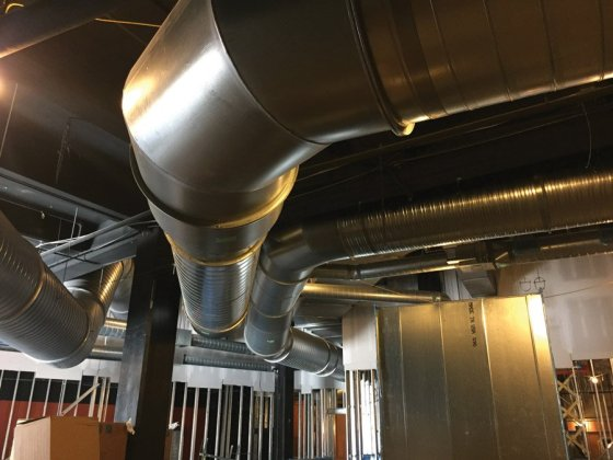 Portion of 478,000 pounds of new ductwork
