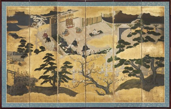 "From ""Women Breaking Boundaries"" at Cincinnati Art Museum: Chiyo Mitsuhisa, Japan, ""Presentation of a Prince,"" Momoyama period (1573–1615), color and gold leaf on paper"
