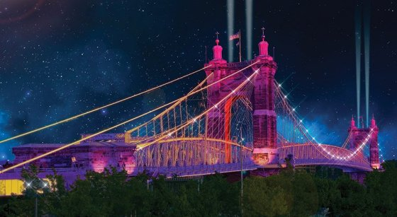 Rendering of 2019 BLINK concept for the Roebling Bridge