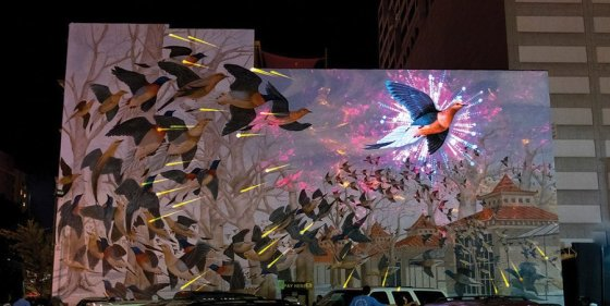Projection mapping on mural during BLINK 2017