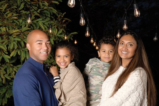Sean and Paaras Parker  with their children, Layla and Elijah