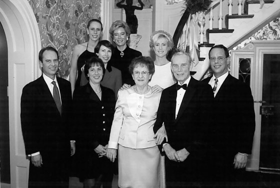 The Maier family in 1999: (back) Diane, Lisa, Linda and Paula; (front) Craig, Karen, Blanche, Jack and Scott. Missing is son Michael, who died in 1987.
