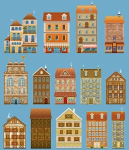 Houses set isolated on blue