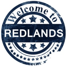 redlands stamp on white background