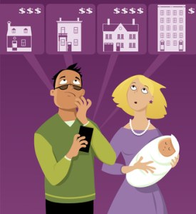 Young family with a baby searching for an affordable  house on Internet, using a mobile phone, EPS 8 vector illustration, no transparencies