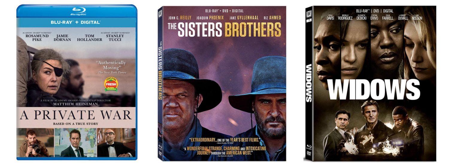 A Private War, The Sisters Brothers and Widows are all coming to Blu-ray and DVD this week.