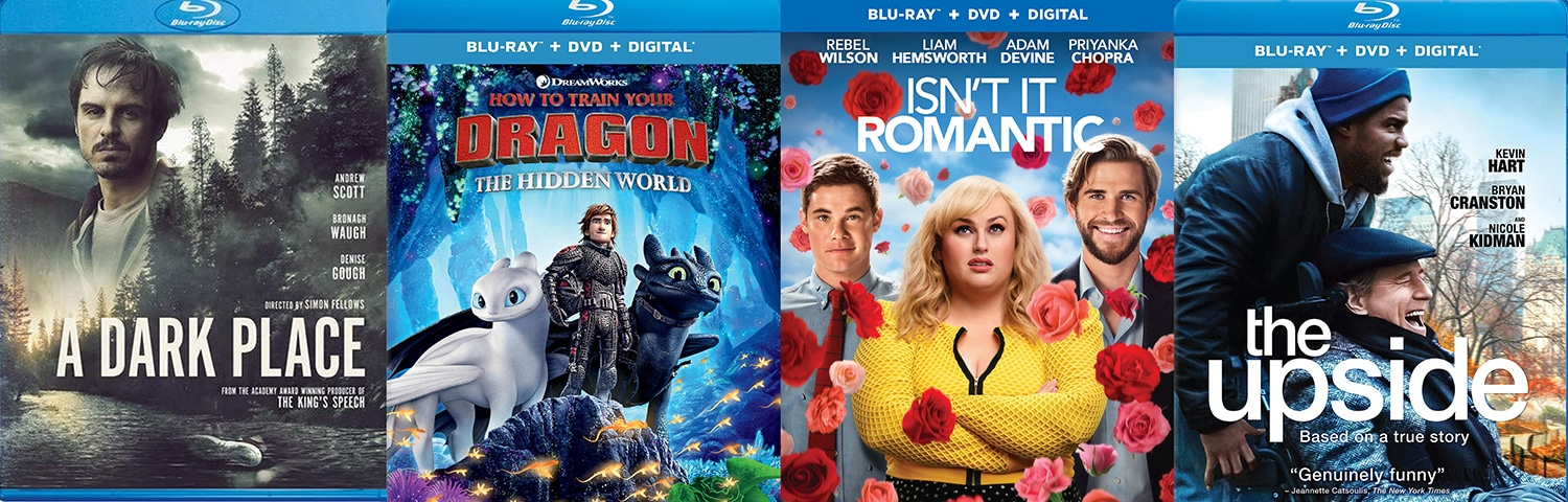 Look for A Dark Place, How to Train Your Dragon: The Hidden World, Isn't It Romantic and The Upside on Blu-ray and DVD this week.