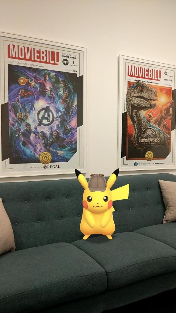 Detective Pikachu is taking a break in the Moviebill lobby.