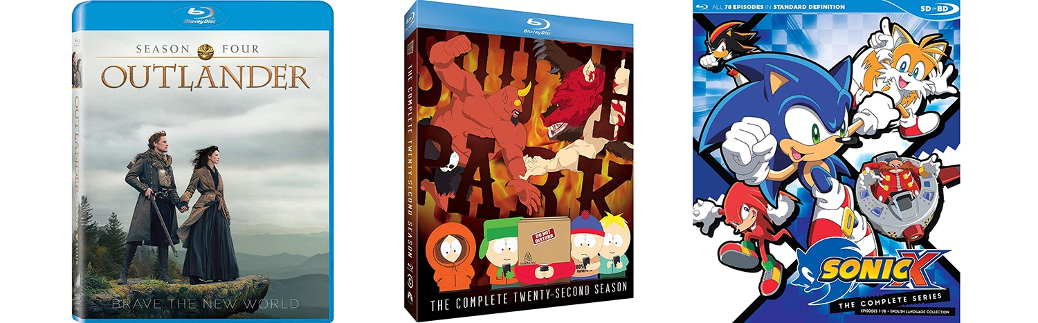 May 28 tv series coming to Blu-ray include Outlander season four, South Park season 22 and the complete Sonic X.
