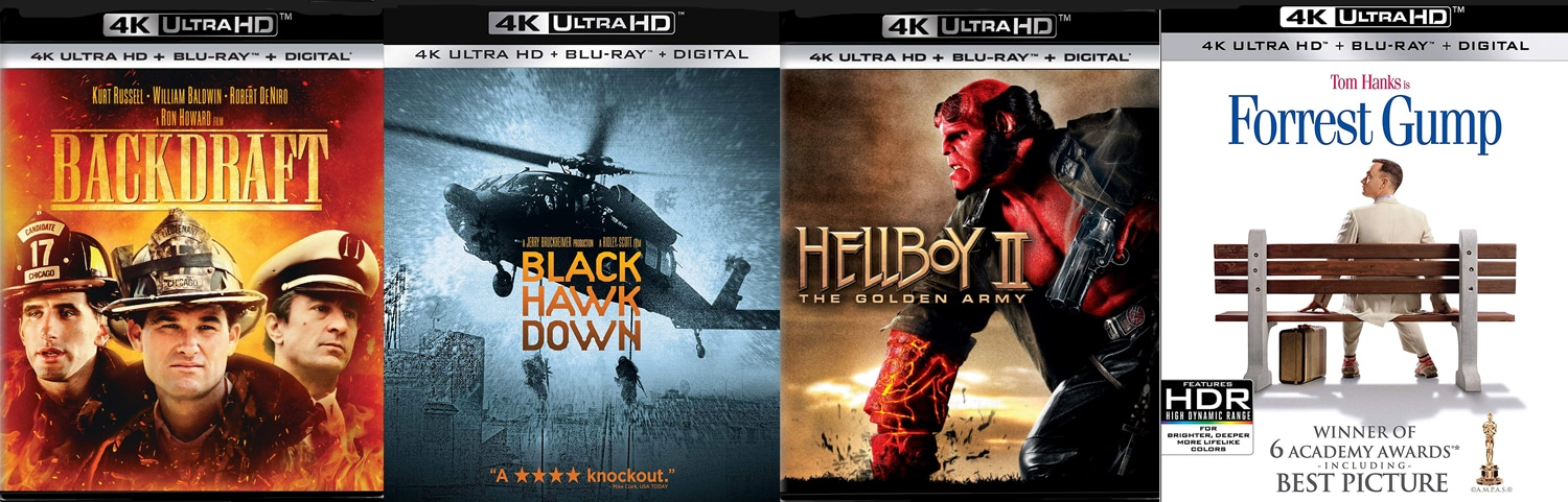Backdraft, Black Hawk Down, Hellboy II and Forrest Gump all come to 4K Ultra HD this week.