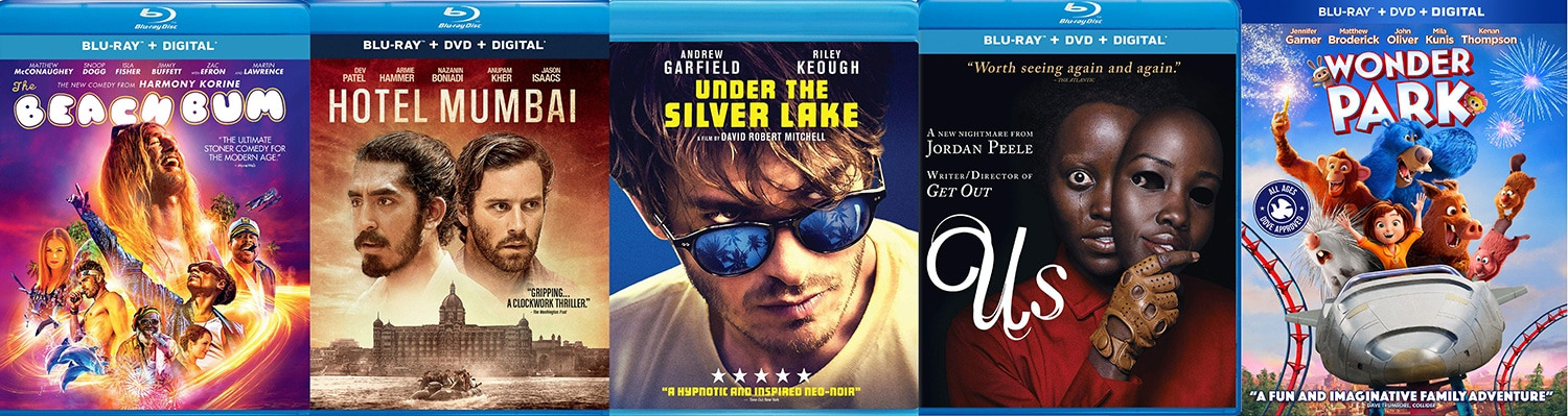 New releases on blu-ray and DVD this week include Us, Under the Silver Lake, Hotel Mumbai, The Beach Bum and Wonder Park.