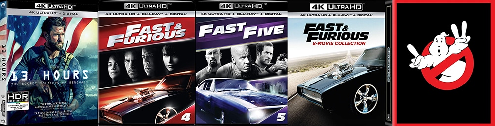 Look for 13 Hours, Fast Five, Fast and Furious and Ghostbusters One and Two on 4K Ultra HD this week.