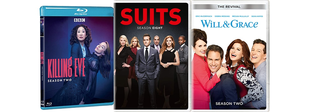 New TV this week includes Will and Grace the Revival season two, Suits Season nine and Killing Eve Season two on Blu-ray and dvd.
