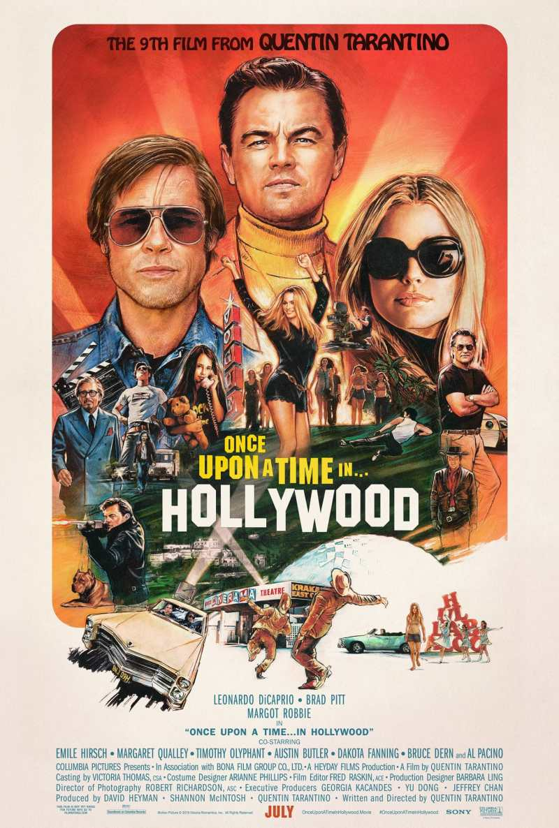 Brad Pitt and Leonardo DiCaprio star in Once Upon a Time in Hollywood, in theaters July 26.