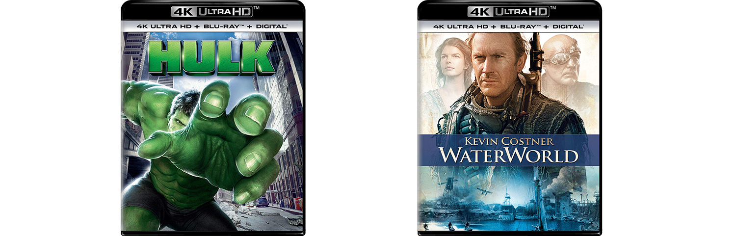 Look for both Hulk and Waterworld to hit 4K ultra HD and Blu-ray this week from Universal Pictures Home Entertainment.